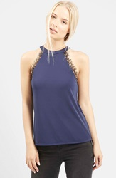 Topshop Eyelash Lace Sleeveless Top Navy Blue
