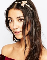 Johnny Loves Rosie Jewel Headband With Bow Pink