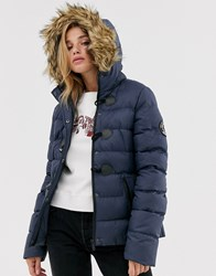 Brave Soul Wizard Padded Coat With Faux Fur Hood Navy