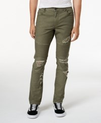 American Rag Men's Ripped Moto Jeans Created For Macy's Mst Green Arbor