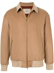 Loveless Leather Trim Bomber Jacket Neutrals