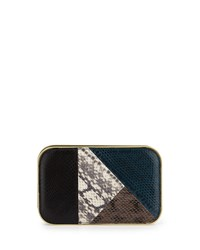 Daniela Small Snakeskin Framed Clutch Bag Teal Combo Rafe