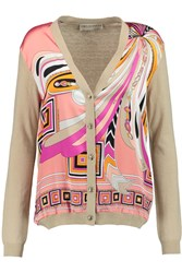 Emilio Pucci Printed Silk And Wool Blend Cardigan Nude