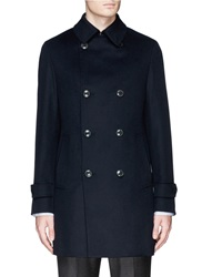 Tomorrowland Double Breasted Wool Cashmere Coat Blue
