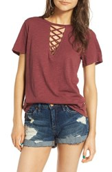 Socialite Women's Grommet Lace Up Tee Dusty Brick
