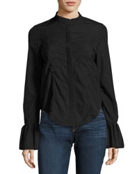 Frame Fitted Long Sleeve Poplin Shirt Top Black