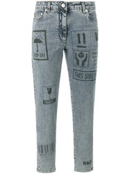 Moschino Packaging Print Skinny Jeans Cotton Other Fibers Blue