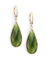 Saks Fifth Avenue Small Green Quartz And 14K Yellow Gold Teardrop Earrings