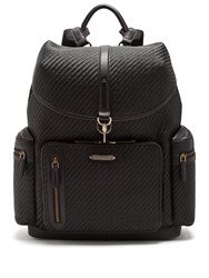 Ermenegildo Zegna Pelle Tessuta Leather Backpack Black
