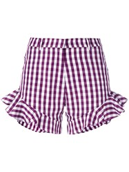 House Of Holland Gingham Ruffle Shorts Women Cotton Polyester 6 Pink Purple