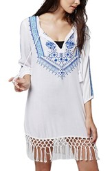 Women's Topshop 'Mostique' Embroidered Caftan Cover Up