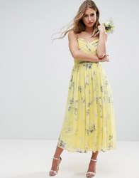 Asos Wedding Rouched Midi Dress In Sunshine Floral Print Multi