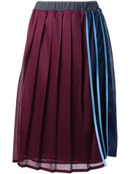 Muveil Pleated Striped Skirt Red