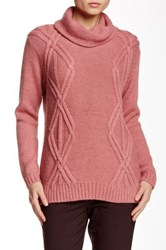 Lafayette 148 New York Cowl Neck Diamond Cable Knit Sweater Red