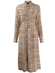 Erika Cavallini Checked Crepe Shirt Dress Neutrals
