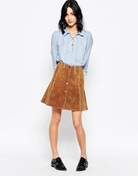 Only Suede Press Stud Fastening Front Skirt Cognac Tan