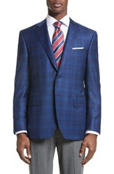 Canali Men's Big And Tall Classic Fit Check Wool Sport Coat Blue