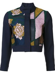 Roksanda Ilincic Patchwork Cropped Jacket Blue