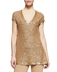 Donna Karan Sequined Cashmere Cap Sleeve Tunic Small