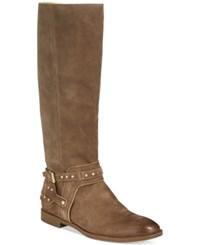 Nine West Luciana Tall Boots Women's Shoes Taupe Suede