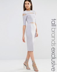 Naanaa Tall Cut Out Detail 3 4 Length Sleeve Pencil Dress Grey Blue