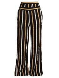 Ace And Jig Dancin Striped Textured Cotton Wide Leg Trousers Black Multi