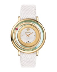 Versace Venus Round Watch W Floating Red Topaz And Leather Strap Golden White