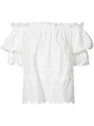 Love Shack Fancy Bardot Eyelet Top Women Cotton M White
