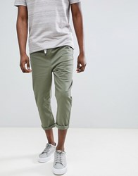 Another Influence Pull On Cropped Drawstring Chinos Green