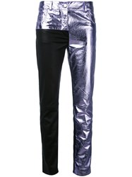 Haider Ackermann Patchwork Skinny Trousers Women Leather 38 Pink Purple