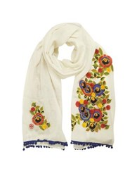 Tory Burch New Ivory And Multi Floral Avalon Embellished Oblong Wool Scarf W Pom Pom