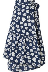 Apiece Apart Iberia Floral Print Cotton And Linen Blend Wrap Skirt Navy