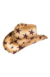 Peter Grimm Star Straw Cowboy Hat Brown Tea Stain