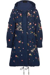Needle And Thread Dragonfly Garden Hooded Embellished Embroidered Denim Parka Dark Denim