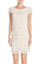 Women's Eliza J Scalloped Lace Sheath Dress