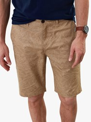 Joules Swanmore Leaf Print Chino Shorts Brown Corn