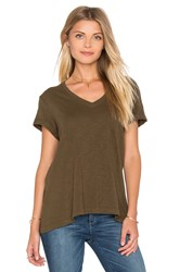 Wilt Slub Roll Sleeve Baby V Neck Tee Army