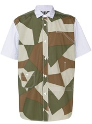 Junya Watanabe Man Colour Block Short Sleeve Shirt Green