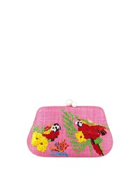 Rafe Rosie Small Straw Clutch Bag With Parrots Pink