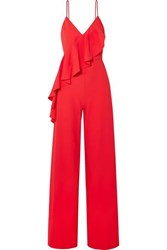 Alice Olivia Keeva Ruffled Crepe Jumpsuit Red
