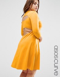 Asos Curve Mini Skater Dress With Cut Out Back Mustard Yellow