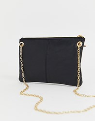Oasis Leather Clutch Bag With Chain Black