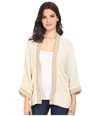 Brigitte Bailey Jute Tape Embellished Open Cardigan Linen Women's Sweater Beige