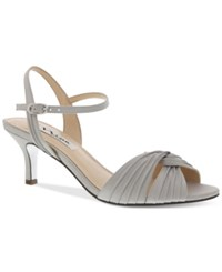 Nina Camille Two Piece Mid Heel Evening Sandals Women's Shoes Silver Satin