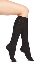 Wigwam Women's Cable Knit Knee Socks Black