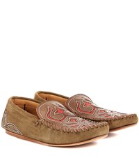 Isabel Marant Etoile Finha Embroidered Suede Loafers Brown