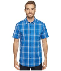 Columbia Global Adventure Iv Yd Short Sleeve Shirt Super Blue Plaid Men's Short Sleeve Button Up