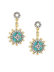 Freida Rothman Classic Black Rhodium 14K Goldplated Sterling Silver And Cubic Zirconia Small Turquoise Slice Wheel Drop Earrings