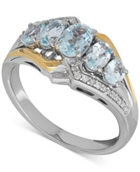 Macy's Aquamarine 1 1 10 Ct. T.W. And Diamond Accent Ring In Sterling Silver And 14K Gold Two Tone