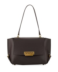 Zac Posen Eartha Gusset Leather Shoulder Bag Dark Brown